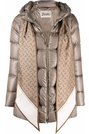 Herno Women Puffer Jackets - Scarf-detail zip-up padded jacket - Neutrals