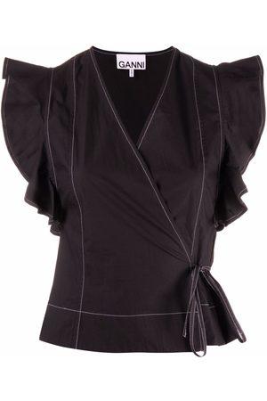GANNI Women Wrap tops - Wrap-style ruffled blouse