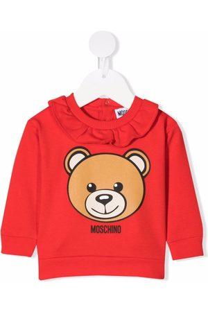Moschino Kids Ruffled-collar bear print sweatshirt