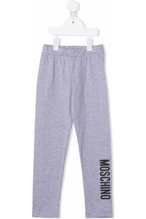 Moschino Kids Logo-print stretch-cotton trousers - Grey
