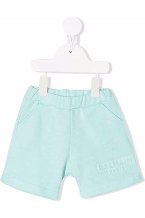 Balmain Kids Logo-debossed cotton shorts