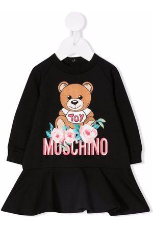 Moschino Kids Floral teddy sweatshirt dress