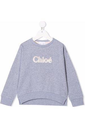 Chloé Kids Embroidered logo sweater - Grey