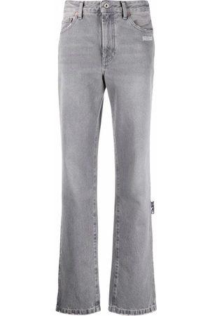 Off-White Slit-detail flared slim jeans - Grey