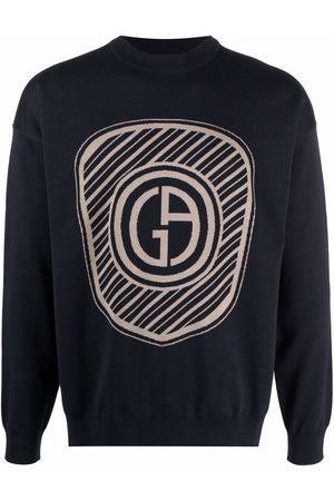 Giorgio Armani Men Sweatshirts - Logo-print knitted jumper