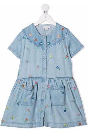 Stella McCartney Kids Embroidered-flowers denim dress