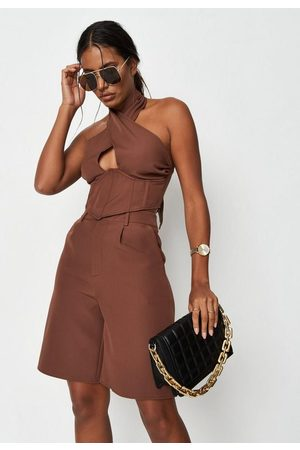 Missguided Tall Chocolate A Line Tailored Bermuda Shorts