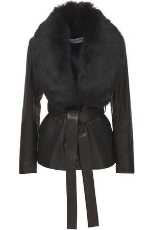 Nour Hammour Nadia Leather Belted Blazer