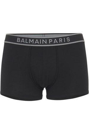 BALMAIN UNDERWEAR Logo Stretch Cotton Jersey Boxer Briefs