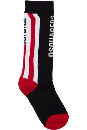 Dsquared2 Intarsia Cotton Blend Knit Socks