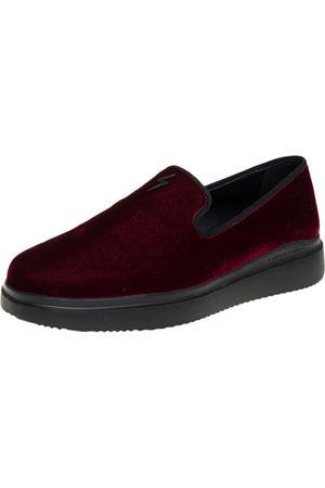 Giuseppe Zanotti Men Loafers - Burgundy Velvet Smoking Slippers Size 42