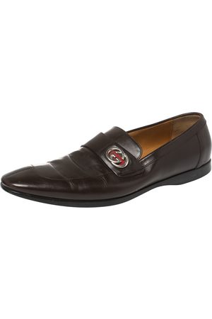 Gucci Leather GG Slip On Loafers Size 43