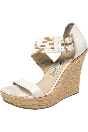 Jimmy Choo Leather Woven Cross Strap Espadrille Wedge Sandals Size 39
