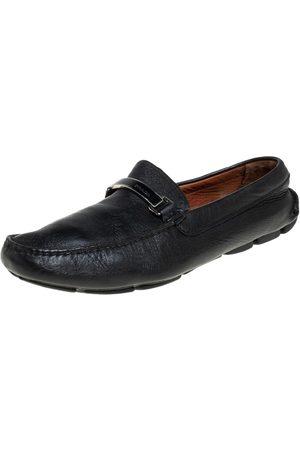 Prada Leather Logo Embellished Loafers Size 41