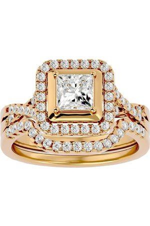 SuperJeweler 1.25 Carat Princess Cut Diamond Bridal Ring Set in 14K (6.8 g) (