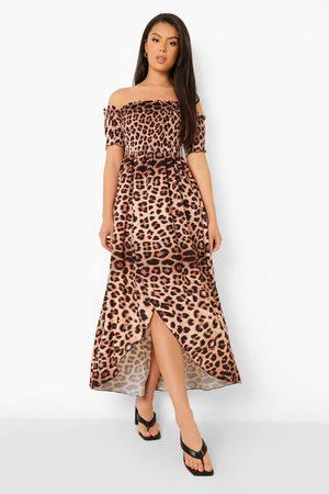 Boohoo Womens Leopard Print Shirred Bardot Maxi Dress - - 4
