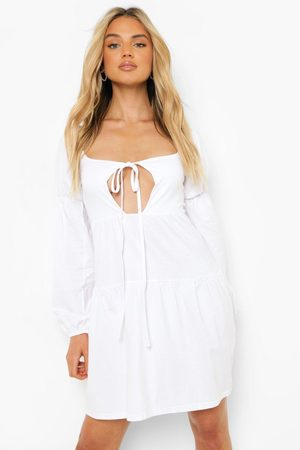 Boohoo Womens Halterneck Puff Sleeve Smock Dress - - 4