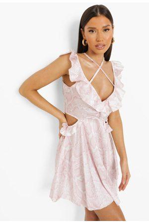 Boohoo Womens Snakeskin Satin Cut Out Frill Mini Dress - - 4