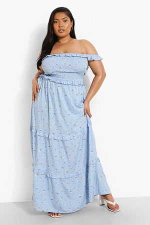 Boohoo Womens Plus Floral Print Shirred Bardot Maxi Dress - - 12
