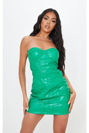 PRETTYLITTLETHING PU Binding Detail Bandeau Bodycon Dress