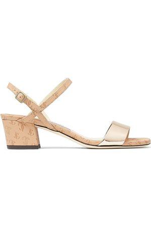 Jimmy Choo Aadra 45mm logo-embossed open-toe sandals - Neutrals