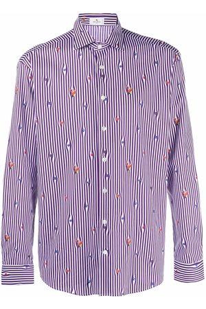 Etro Pinstripe fruit-print shirt