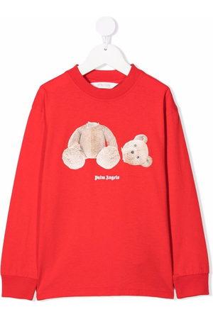 Palm Angels Kids Girls Long Sleeve - Bear-motif long-sleeve T-shirt - 2560