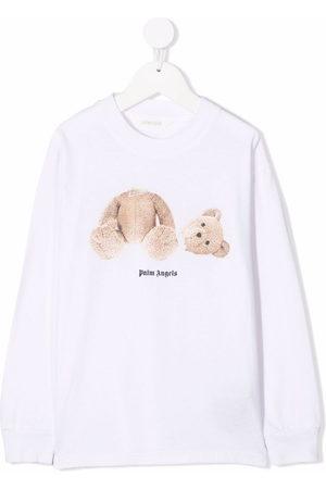 Palm Angels Kids Bear-motif long-sleeve T-shirt - 0160