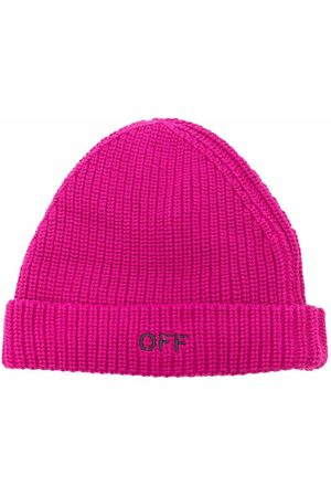 OFF-WHITE Girls Beanies - Logo-embroidered ribbed beanie