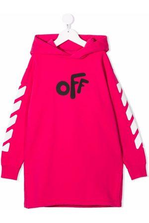 Off-White Kids Off' print hoodie dress