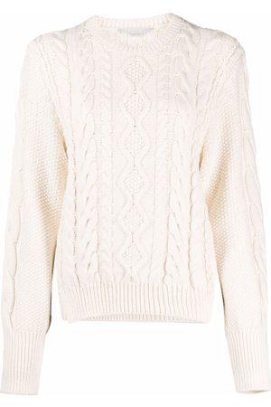 Stella McCartney Women Long sleeves - Aran-knit cropped long-sleeve jumper - Neutrals