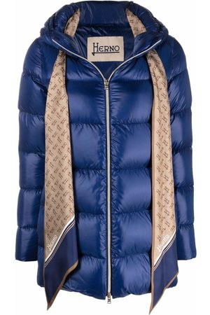 HERNO Women Puffer Jackets - Scarf-detail zip-up padded jacket