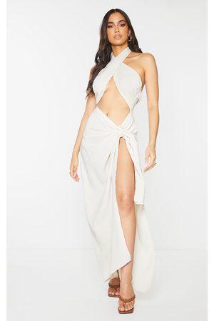 PrettyLittleThing Women Halterneck Dresses - Nude Woven Ring Detail Cut Out Halterneck Midaxi Dress