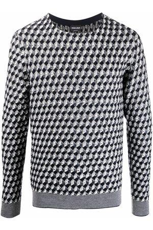Armani Geometric-print knitted jumper