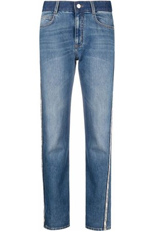 Stella McCartney Logo tape-detail straight-leg jeans