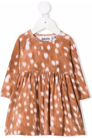 Molo Kids Deer-print long-sleeved dress - Neutrals