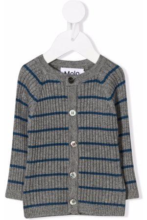 Molo Ribbed-knit striped cardigan - Grey