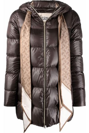 HERNO Scarf-detail zip-up padded jacket