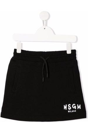 Msgm Girls Printed Skirts - Logo-print straight skirt