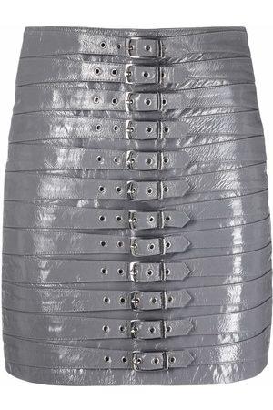 Manokhi Dita belted leather skirt - Grey