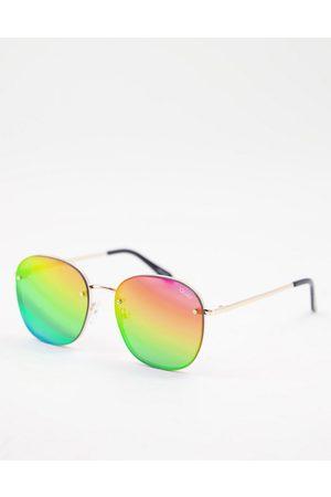 Quay Australia Quay Pride Jezabell women's round sunglasses in with rainbow polarized lens