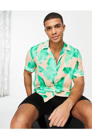 River Island Short sleeve printed shirt with camp collar in