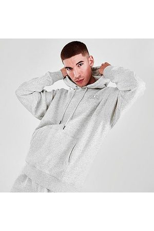 Champion Men's Classic C Logo Pullover Hoodie in Grey/Bleached Stone Size Small Cotton