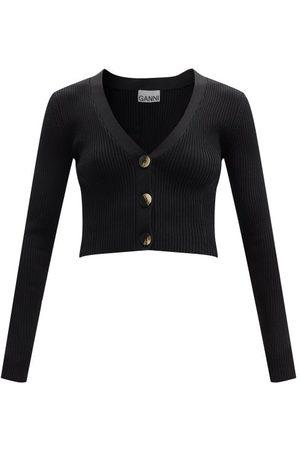 Ganni Cropped V-neck Ribbed-knit Cardigan - Womens