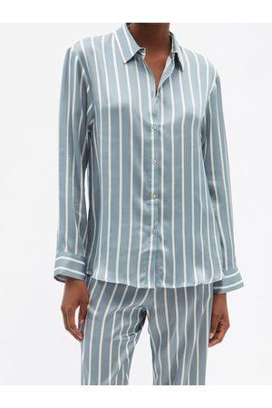 Asceno London Striped Sandwashed-silk Pyjama Shirt - Womens - Stripe