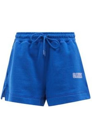 Ganni Software Recycled Cotton-blend Jersey Track Shorts - Womens