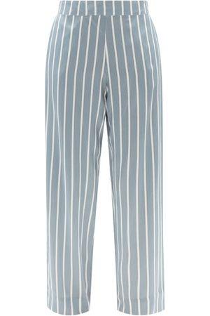 ASCENO Women Sweats - London Striped Sandwashed-silk Pyjama Bottoms - Womens - Stripe