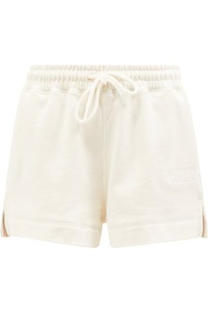 Ganni Software Organic-cotton Blend Jersey Shorts - Womens - Ivory