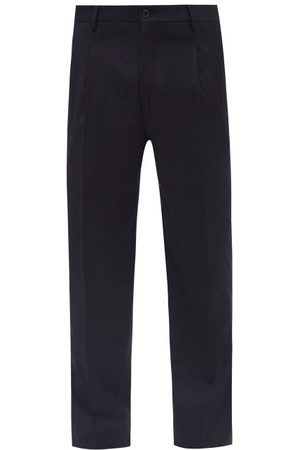 Armani Men Formal Pants - Pleated Wool-twill Tailored Trousers - Mens - Dark Navy