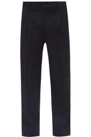 Armani Pleated Wool-twill Tailored Trousers - Mens - Dark Navy